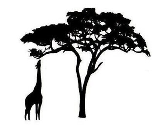 Giraffe and Acacia Tree Silhouette UNMOUNTED African rubber stamp - #17