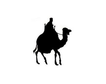 CAMEL RIDER Silhouette - unmounted African / Arabian rubber stamp, desert, bedouin, Egyptian, scene building stamp, Sweet Grass Stamps #17