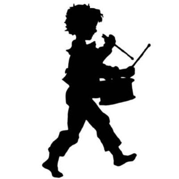 DRUMMER BOY Silhouette unmounted music rubber stamp