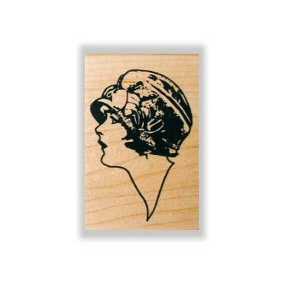 Lady Profile Mounted rubber stamp small, woman, flapper No.2