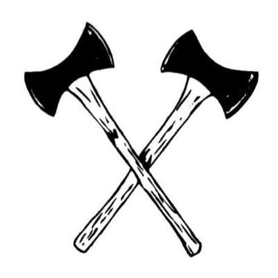 Crossed Axes Mounted Lumberjack Axe Rubber Stamp Ax
