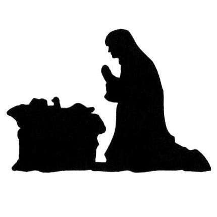 Manger Scene Nativity Silhouette Um Christmas Rubber Stamp