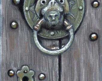 original Pastel drawing Church Door knocker England 4x6 CLEARANCE SALE