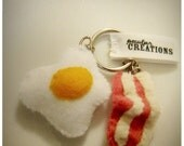 Rise and shine key chain - felt bacon and eggs