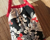 Small Pouchy Bag - Black and red waves and leaves