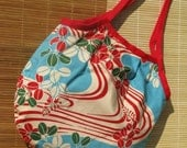 Casual Pouchy Bag - Blue Waves and Leaves