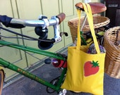 Strawberry Tote Bag, Yellow Farmers Market Bag, gift for her, hostess gift