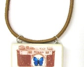 Camera Pendant With Butterfly/Original Art For Your Neck/Nikon
