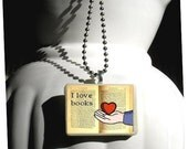 I Love Books Miniature Pendant - Original Art