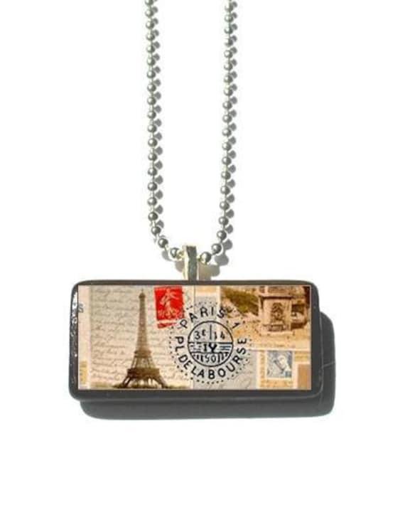 Paris Postage Necklace On Wood
