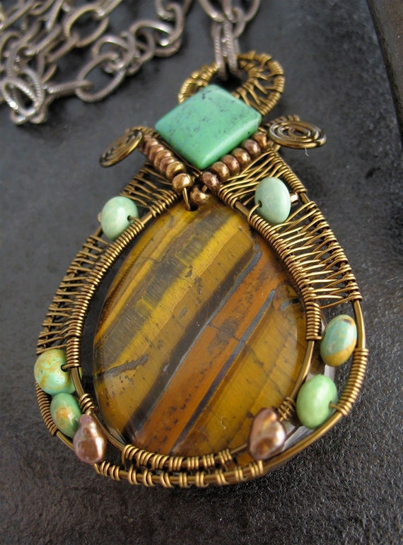 Brown, Blue-Green Stones, Wire Wrapped Pendant Necklace, Darkened Brass