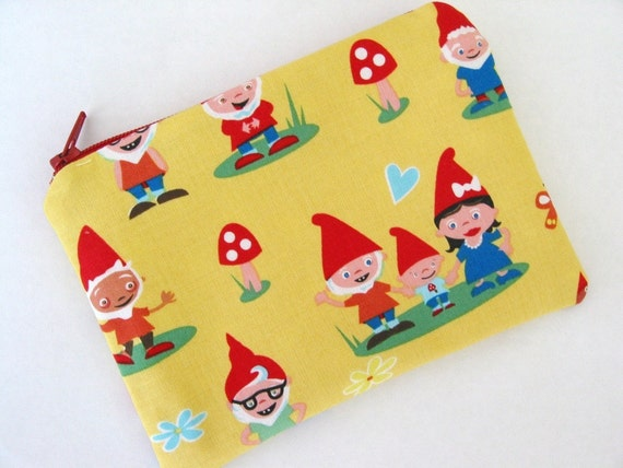 Gnoming Around Yellow Small Zipper Pouch