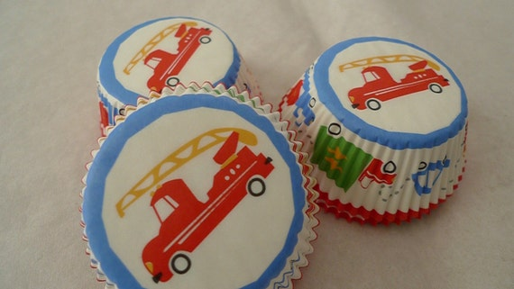 "Cupcake Liners 75 counts - FIRE ENGINE Truck  Wheels Trucks cup cake liners - baking cups - muffin cups - 2"" (5 cm) standard size"