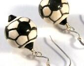 Porcelain soccer balls, Swarovski, Sterling Earrings