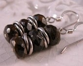 Bronzite Stack and Sterling silver handmade earrings