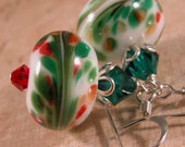 Christmas Swirls Red, Green White Lampwork earrings - sterling silver