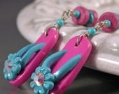 Pink and Turquoise Flip Flops and Sterling Silver Earrings