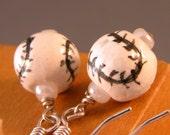 Baseball or Softball Sterling Silver Earrings
