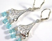 Apatite and sterling silver chandelier earrings - Summer Blues