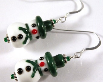 Little Snowmen Earrings - Lampwork and Sterling Silver