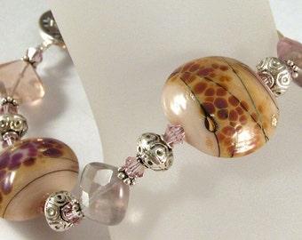 Lampwork, Fluorite, crystals, sterling silver bracelet - Desert Lavender