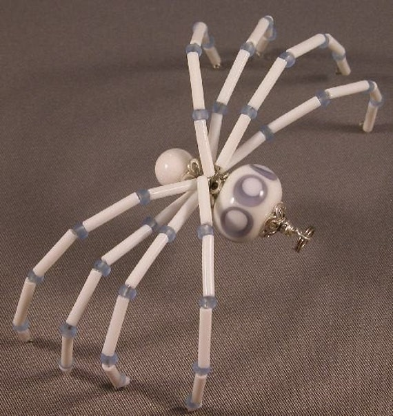 Purple and White Beaded Spider Barrette, Pin, Pendant - Phelicia