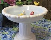 Ceramic Birdbath Soap Dish Fairy Garden Bird Seed Dish Column Pedestal Stand Little Birds on Rim