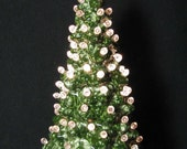 Snow Flurries Predicted Ceramic Christmas Tree 10 Inch Tall Lighted Tabletop Round Ornaments Electric Lights Detailed Holly Base