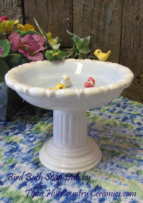 Ceramic Birdbath Soap Dish Garden Bird Seed Dish Column Pedestal Stand Little Birds on Rim