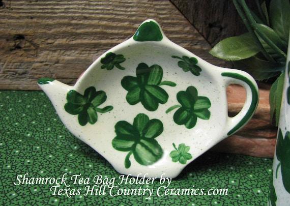 Teapot Tea Bag Holder with Irish Green Shamrocks