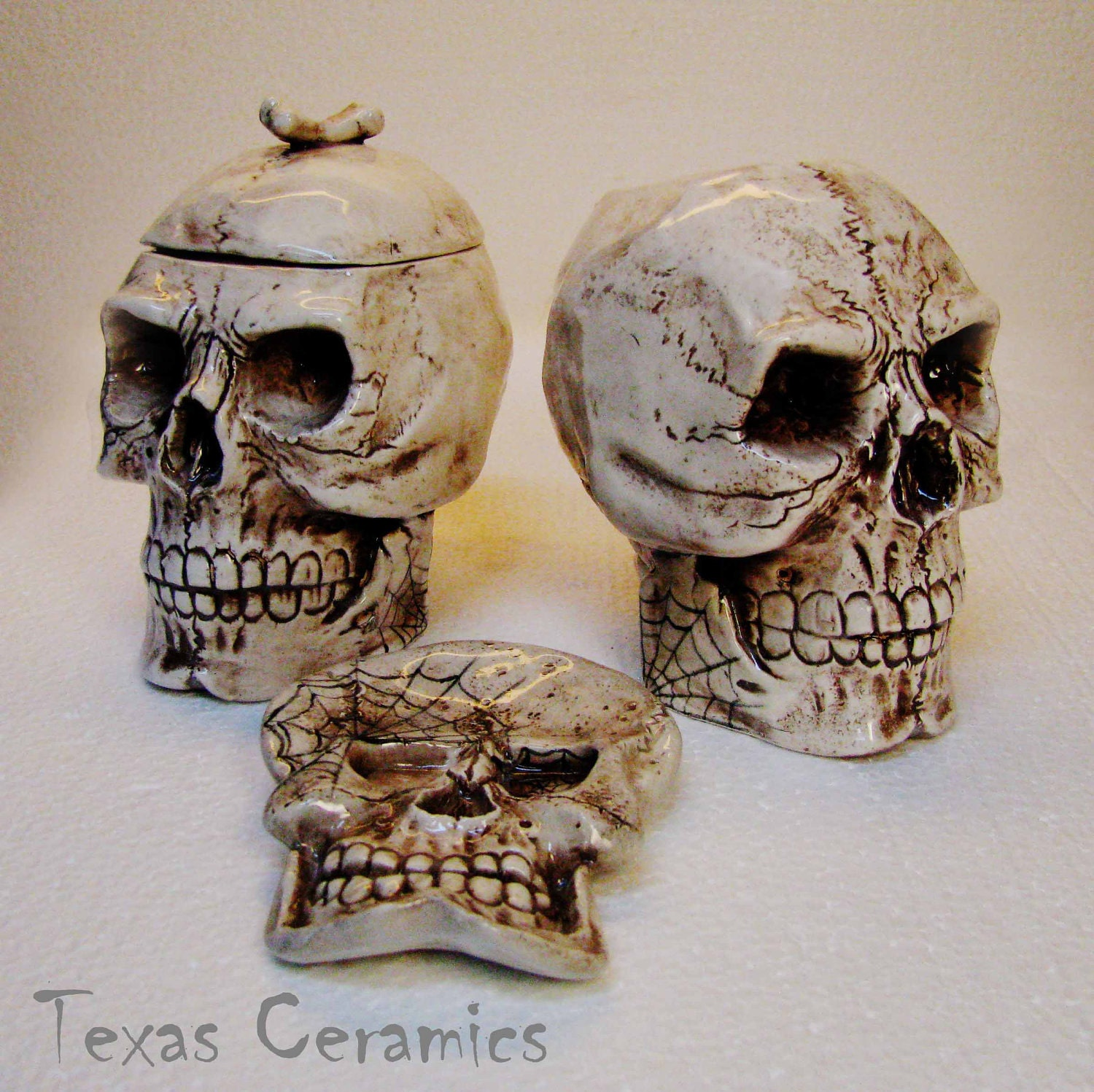 Aged Human Skull Ceramic Creamer Amp Sugar Bowl With Skull Spoon
