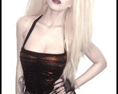 BADASS DIVA TOP - Handmade to your size... You bad Girl fashion... punk girl deranged destroyed ripped slashed ribcage black bronze artistic