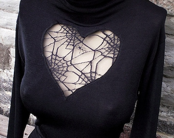 Spiderweb heart blouse TOP - You bad Girl couture - Your size - Gift idea - Never-before-seen dark decadent romantic  long sleeves shirt