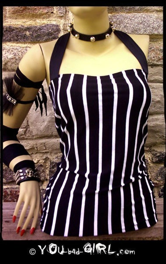 You bad GIRL alt couture sexy gangster black and white stripes TOP, last chance, punk rock emo DIY gothic lolita stupendous fashion