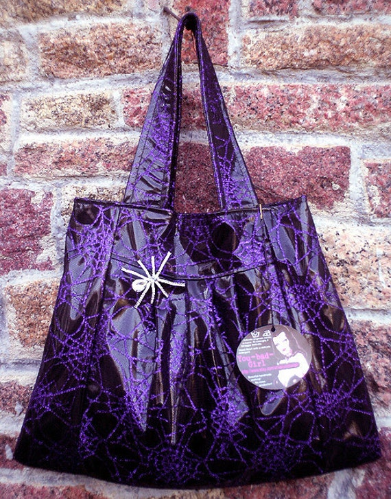 Handmade SPIDERWEB BAG... in black patent pvc and purple lace w pretty clear spider brooch pin w swarovski crystal