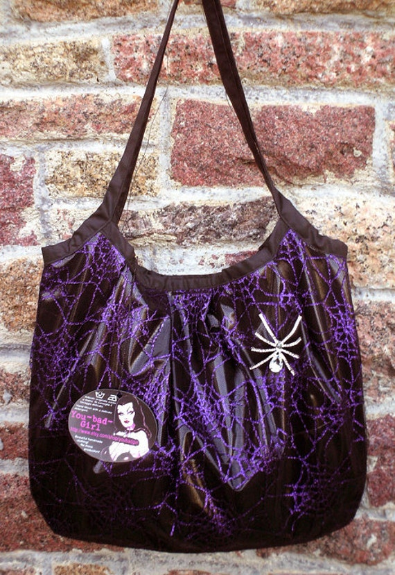 Reduced price -- Handmade SPIDERWEB BAG -- ghostly in black patent pvc and purple lace w pretty clear spider brooch pin w swarovski crystal