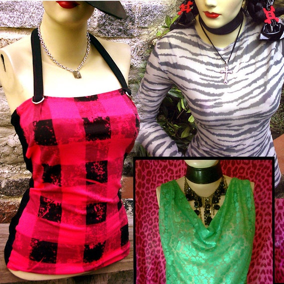 CLEARANCE crazy SALE grab bag of 3 you-bad-girl indie handmade fashion shirt tops. Discounted packet.. Cute plaid punk emo zebra diy lace