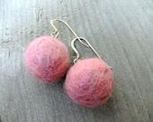 Sweet fuzzy pink berry drop earrings