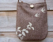 Recycled Hemp and Wool Shoulder Bag with Flying Swallows (Brown)
