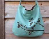 Eco-friendly Hemp Bag with Songbird (Turquoise)