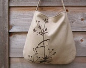 SALE 30% OFF - Hemp Bag with Songbird on Flower Organic Cotton Lining - Natural, Beige, Taupe