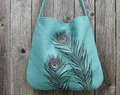 Hemp Bag with Peacock Feathers with Organic Cotton Lining - Turquoise Blue