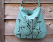 Hemp Bag with Queen Anne's Lace (Turquoise)
