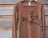 Womens Tshirt - Long Sleeve - Organic Cotton - Brown S M L XL - SALE 15% OFF
