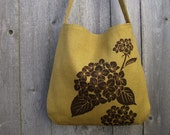 SALE 15% OFF - Hemp Tote Bag / Messenger Bag with Hydrangea - Golden Mustard