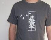 Mens Organic Cotton T Shirt - Mens Graphic Tee - Grey T Shirt - Flying Crows TShirt - Organic Cotton Shirt - Japanese Screen Print Shirt