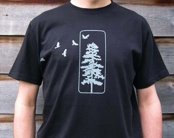 Mens Graphic Tee- Organic Cotton T Shirt- Mens Black T Shirt- Crow Screen Printed Shirt with Pine - 100% Organic Cotton Clothing for Men