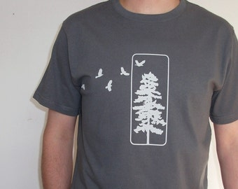 Mens Organic Cotton T Shirt - Mens Graphic Tee - Grey T Shirt - Flying Crows TShirt - Organic Cotton Shirt - Japanese Screen Print Shirt