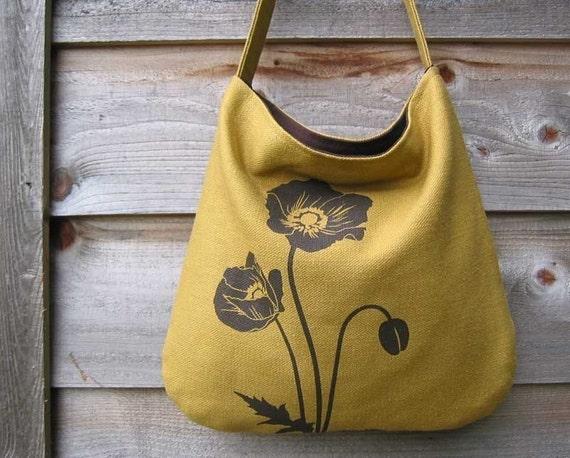 Hemp Bag with Poppies Organic Cotton Linging - Deep Gold Mustard