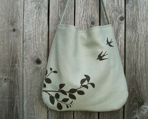 Eco-friendly Hemp Bag with Flying Swallows (Bamboo)